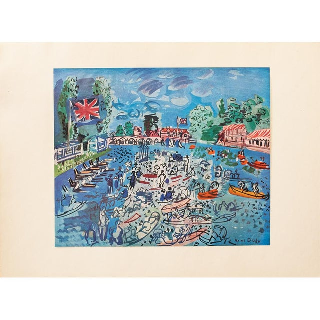 """A lovely original period tipped-in offset lithograph after painting """"Regatta at Cow-On-Thames"""" by Raoul Dufy. Signed in..."""