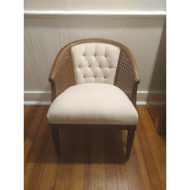 Excellent Mid Century Modern White Caned Cane Barrel Chair Chairish Bralicious Painted Fabric Chair Ideas Braliciousco