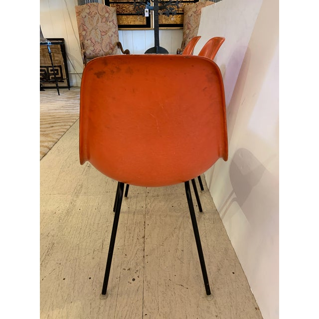 Mid-Century Modern Set of 3 Bright Orange Mid Century Modern Shell Eames Chairs For Sale - Image 3 of 13