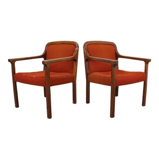 Pair of Vintage Mid-Century Modern Helikon Walnut Arm Chairs For Sale