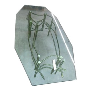 1970s Silas Seandel Brutalist Glass Top Coffee Table For Sale