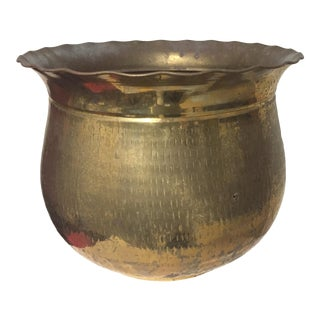 1980s Vintage Solid Brass Bowl Shaped Planter For Sale
