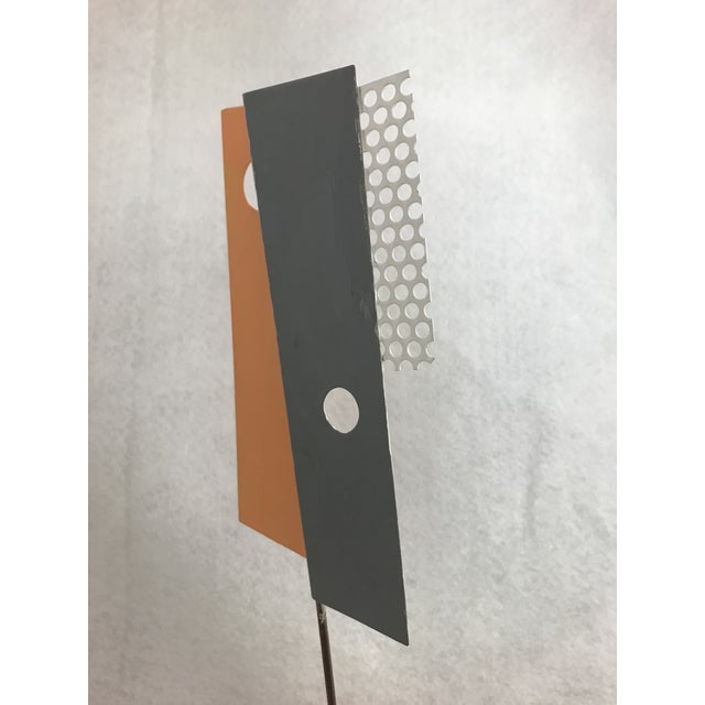 Modern 1980s Modern Geometric Perforated Metal Sculpture For Sale - Image 3 of 10