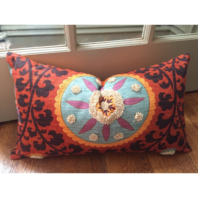 Bohemian Embroidered Orange Pillow Cover - Image 2 of 9