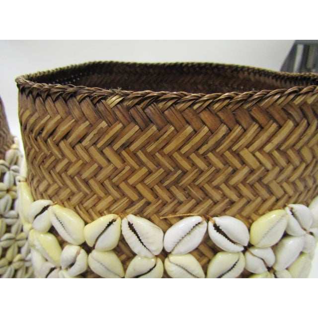 Shell Storage Baskets With Lids From Hawaii - A Pair For Sale - Image 4 of 8