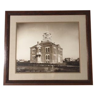 "Early 20th Century Antique Framed Enlargement of J E Stimson ""County Court House, Julesburg, Colorado"" Silver Gelatin Photograph For Sale"