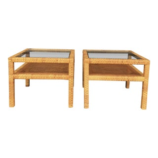 Vintage Billy Baldwin Style Wrapped Rattan Side Tables - a Pair