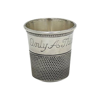 """Silver-Plate """"Only a Thimble Full"""" Jigger / Shot Glass For Sale"""