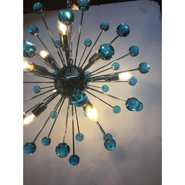 Blue Blue Murano Glass Chandelier in Sputnik Style With a Chrome Frame For Sale - Image 8 of 13
