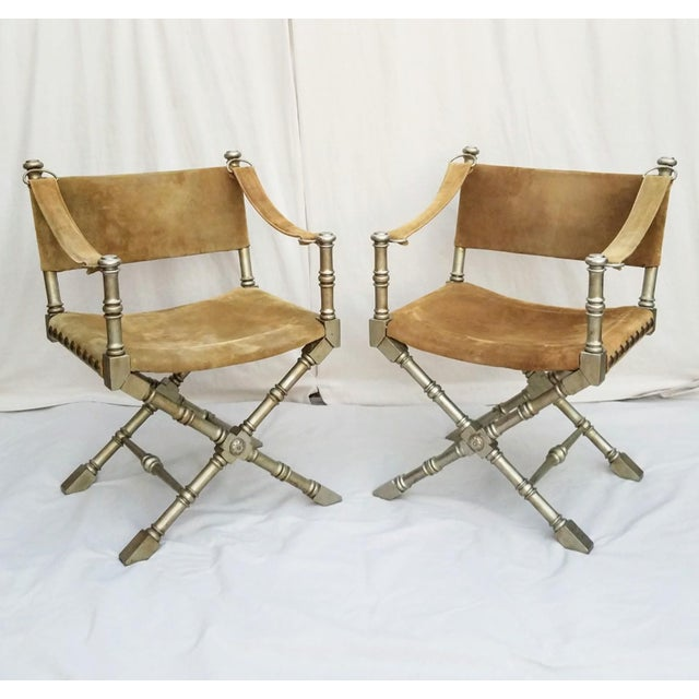 Gold 1950's Vintage Drexel Burnished Brass & Faux Bamboo and Suede Safari Style Chairs- a Pair For Sale - Image 8 of 9