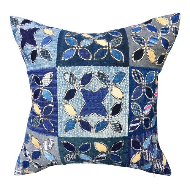 Tribal Patchwork Antique Indigo Textile Pillow - Image 1 of 9