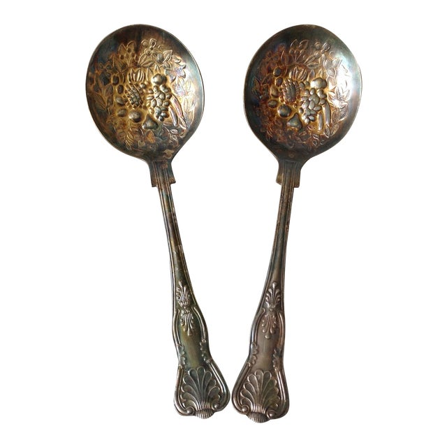 English Silver Plated Berry Servings Spoons - Pair - Image 1 of 9