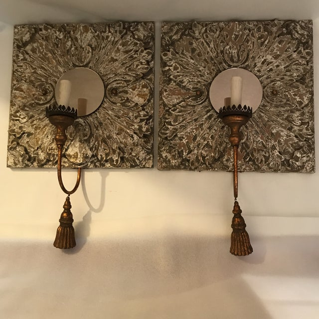 Carved Wood and Mirror Wall Sconces - a Pair For Sale - Image 13 of 13