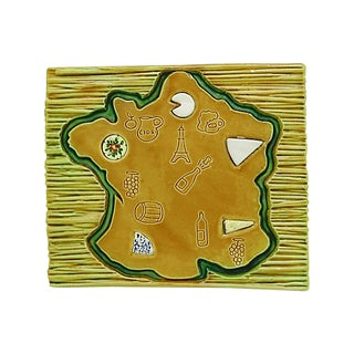 Mid-Century French Majolica Cheese Board For Sale