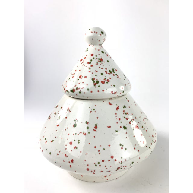 1980's Contemporary Christmas Tree Canister Cookie Jar For Sale - Image 9 of 9