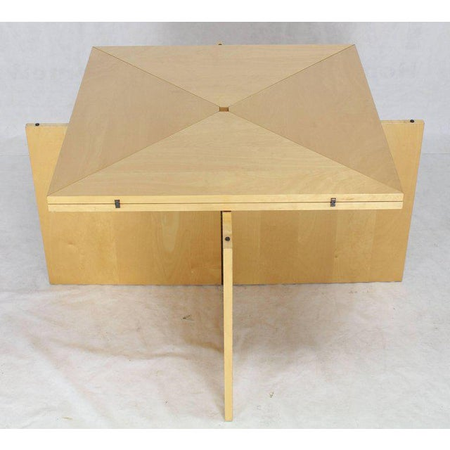 Mid-Century Modern Mid-Century Modern Folding Convertible Two Sizes Birch Square Conference Dining Table X-Base For Sale - Image 3 of 7