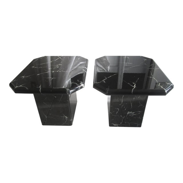 Retro Lacquered Marble Design Side Tables - A Pair - Image 1 of 8