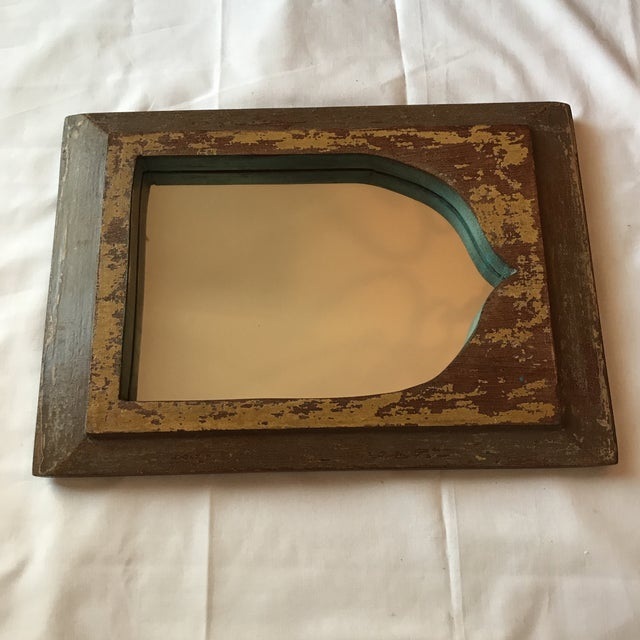 Vintage Indian Archway Painted Teak Mirror For Sale - Image 10 of 11