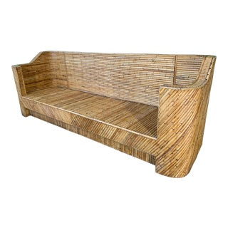 Split Reed Bamboo Sofa in the Manner of Gabriella Crespi For Sale