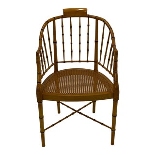 Baker Faux Bamboo & Cane Regency Style Armchair For Sale