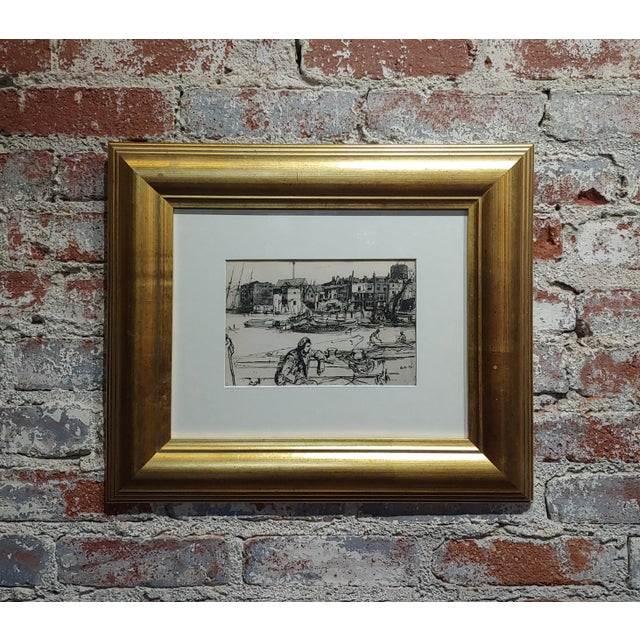 1950s Vintage Black Lion Wharf Etching on Paper by James Whistler For Sale - Image 9 of 9