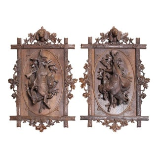 French Carved Walnut Hunt Trophy Wall Plaques - a Pair For Sale