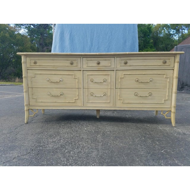 1970s Regency Thomasville Bamboo Style Dresser For Sale - Image 6 of 7