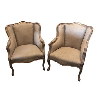 1980s Vintage Gilded Burlap Chairs- a Pair For Sale