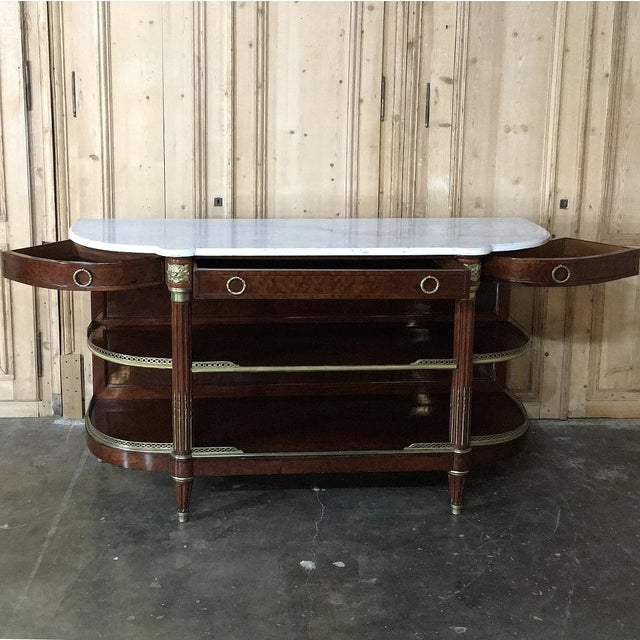 Early 19th Century 19th Century Parisienne Signed ~Mercier ~ Carrara Marble Top Display Buffet For Sale - Image 5 of 9