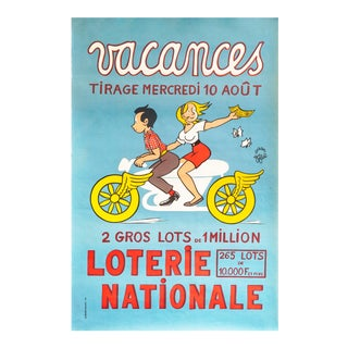 1966 French Poster, Loterie Nationale Advertisement, Vacances For Sale