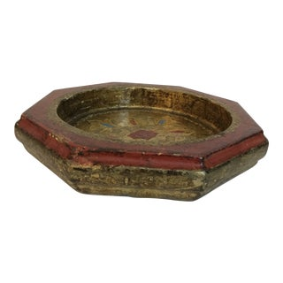 Vintage Italian Hand Painted Florentine Gilt Red With Red and Blue Accents Octagonal Tray For Sale