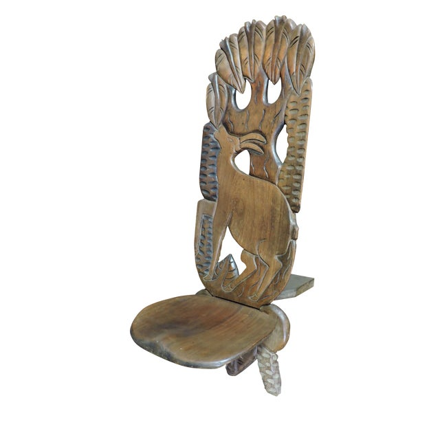 Carved African Wooden Chair With Antelope Figure For Sale