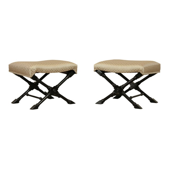 Regency Style Black Lacquered Pair X Benches For Sale