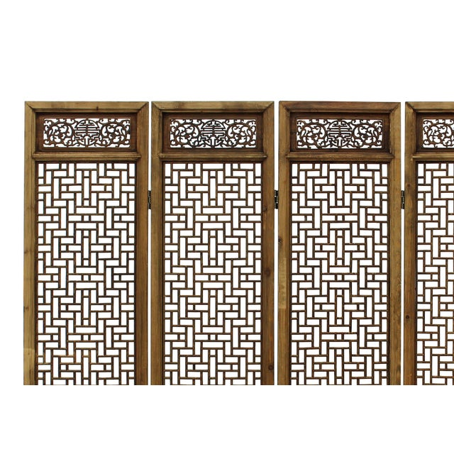 "This is a set of four door panel screen divider with simple geometric square see through pattern. Dimensions: w78"" x h82""..."