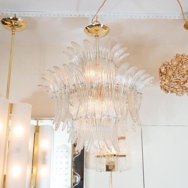 Murano glass tiered palmette fixture by Barovier.