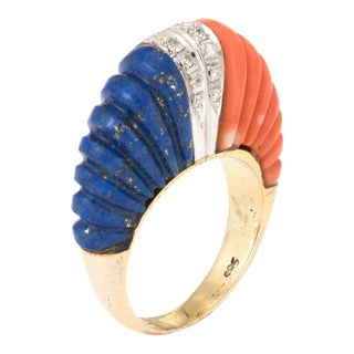 Fluted Coral Lapis Lazuli Diamond Dome Ring Vintage 14k Yellow Gold For Sale