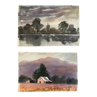 1960s Country Large Double-Sided Watercolor Painting of Landscape For Sale