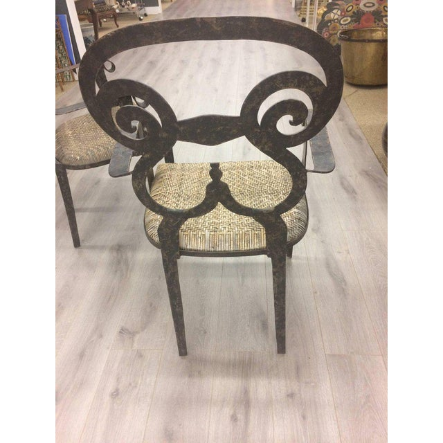 Hand-Forged Iron & Rattan Armchairs - a Pair For Sale - Image 4 of 13