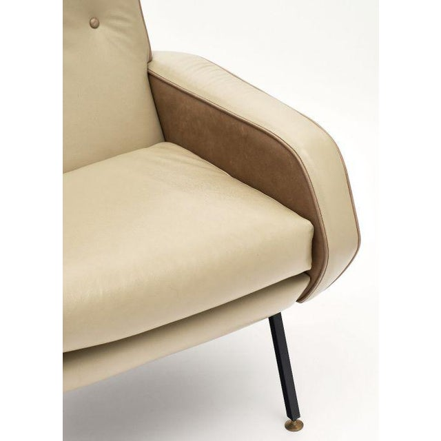 Gold French Modernist Two-Toned Leather Armchairs - a Pair For Sale - Image 8 of 12