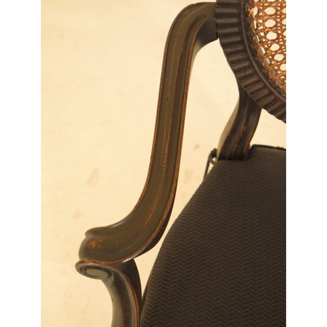 1980s Adam Style Cane Back & Seat Arm Chairs - a Pair For Sale - Image 5 of 13