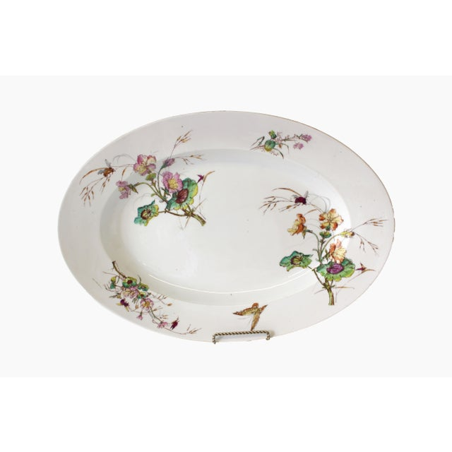 Limoges Delinieres & Co Porcelain With Floral Design Serving Platter from Late 1800s For Sale - Image 12 of 12