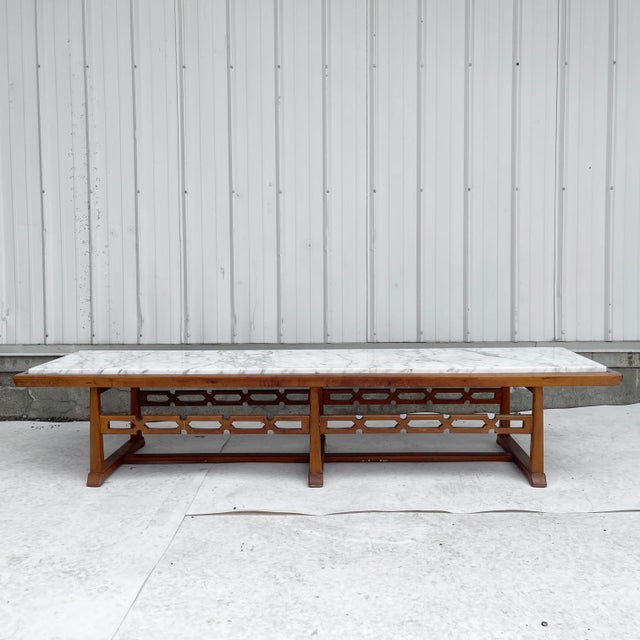 Long Mid-Century Marble Top Coffee Table For Sale - Image 13 of 13