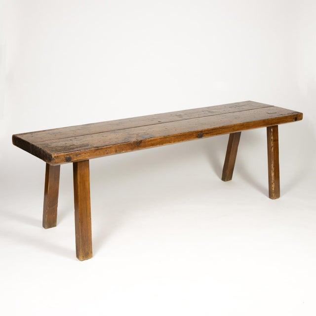 Rustic Elm Work Bench With Square Iron Pegs, English Circa 1880. For Sale In San Francisco - Image 6 of 13