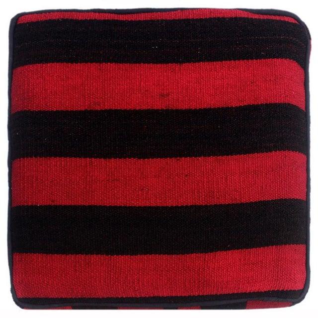 2010s Arshs Domitila Red/Black Kilim Upholstered Handmade Ottoman For Sale - Image 5 of 8