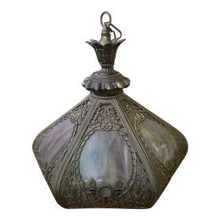 Vintage Chandelier With Slag Glass Shade