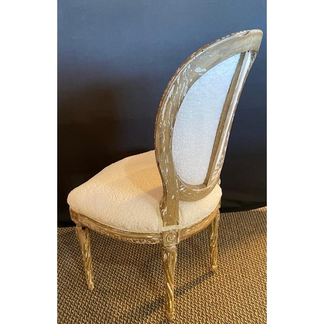 Pair of Jansen Distressed Sherpa Upholstered Side Chairs For Sale In New York - Image 6 of 10