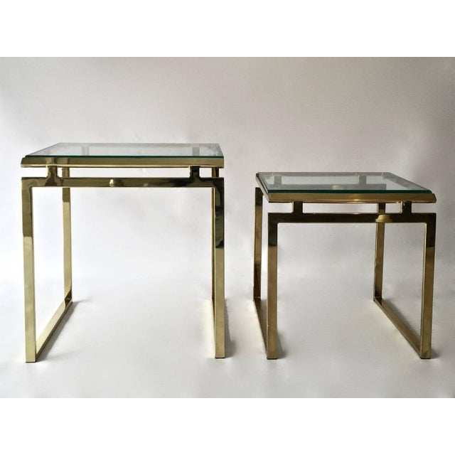 Mid-Century Brass & Glass Nesting Tables - A Pair - Image 7 of 10