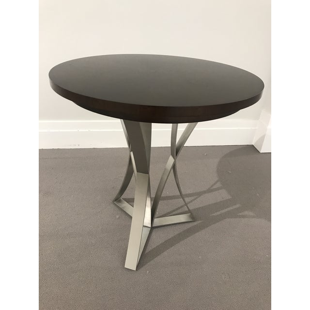 Modern Kravet Metal and Wood Round Side Table For Sale - Image 11 of 11