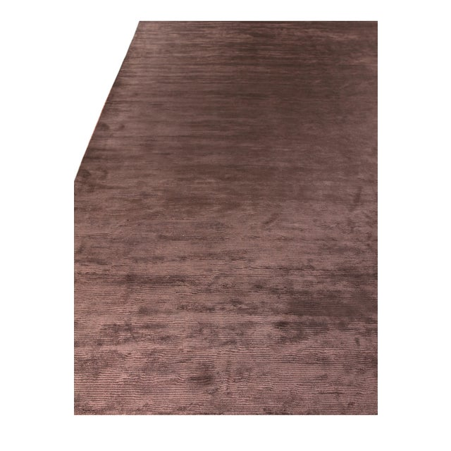 Exquisite Rugs Ives Hand loom Viscose Brown Rug-14'x18' For Sale - Image 4 of 10