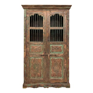 Antique Indian Distressed Wooden Cabinet With Hand Rubbed Patina For Sale